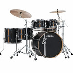 Tama Superstar HD Maple DUO 4 tamos Shell-set ML50HZBN2-FBV Flat Black Vertical Stripe kép, fotó