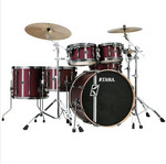 Tama Superstar HD Maple DUO 4 tamos shell-set ML50HZBN2-SGV Satin Burgundy Vertical Stripe kép, fotó